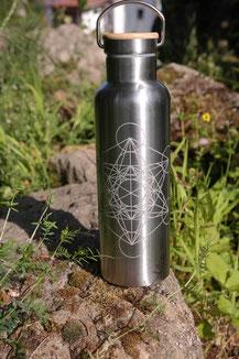 Edelstahl - Metatron würfel geometrie wasserflasche robust wasser trinken palstikfrei