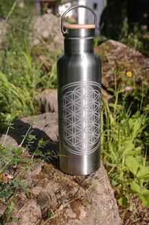 Edelstahl - Blume des Lebens 750ml flasche trinkflasche thermo doppelwandig