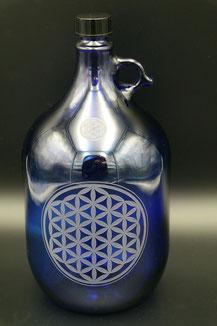 5L , Blume des Lebens , flower of life , seed of life , henkelflasche , blauglas