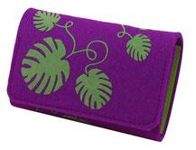Geldbeutel lila violett monstera Filz