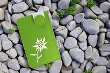 Handy Etui aus Wollfilz mit Edelweiss