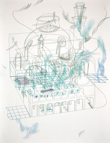 Mall . 2017 . Bleistift und Farbstift auf Papier . 45 x 35 cm