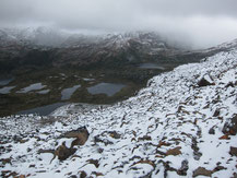 Snowfall during the summer season on Dientes de Navarino trek, Chile