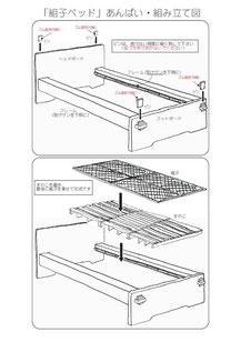 組子ベッド あんばい 組み立て図