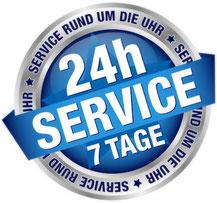 24 Stunden geöffnet, Zeichen für 24-Stundenservice für Gewerbetreibende