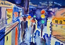 Gunnar Mozer, Kephalo, CityLights, Aquarell, Watercolor