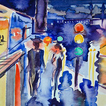 citylights, watercolor, gunnar mozer