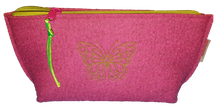Waschtasche Kulturtasche Kulturbeutel Beautycase Filztasche Filz Reisetasche bestickt Schmetterling