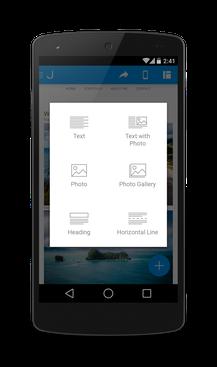 Jimdo для Android - работа с контентом