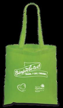 sac reutilisable vert lime - Bénévole-toi! j'imagine, j'y crois, j'embarque - Arrondissement de Beauport