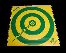 Cible de curling numérotée de 1 à 10 en vinyle de couleur jaune et vert. Cible de curling pour jouer au curling d'intérieur à acheter au meilleur prix.