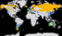 Karte zur Verbreitung der Schwäne weltweit.