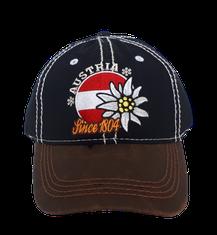 Kappe Austria Edelweiß und Flagge, schwarz