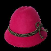 Kinder Melkerhut pink mit grüner Kordel