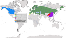 Verbreitung der Gattung der Echten Elstern (Pica)