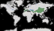 Karte zur Verbreitung der Bergkrähen (Pyrrhocorax)