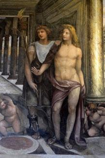 OmoGirando la Villa Farensina - Stanza delle Nozze di Alessandro Magno, particolare di Imeneo ed Efestione