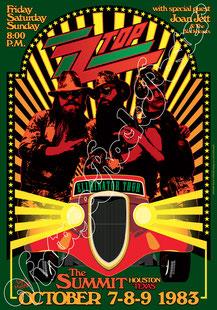 ZZ TOP, zztop poster, zz top concert, joan jett