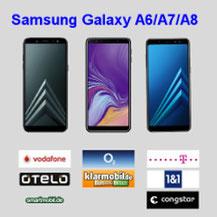 Samsung Galaxy A6,A7 und A8 Smartphone mit LTE Allnet Flat