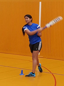 Dhanya Maliakal practicing her batting