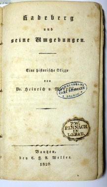 """Innentitel der Chronik """"Radeberg und seine Umgebungen"""" von 1828"""