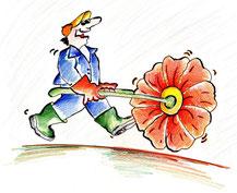 Bild: Gärtner mit Karette