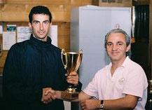 Sensei P. Camillini receiving an award.