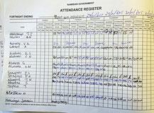Attendance Register der Finanzabteilung