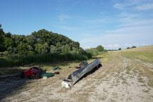 Ende einer Fahrt bei Szőny (Donau)