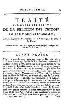 Nicolas Longobardi (1559-1654) : Traité sur quelques points de la religion des Chinois. Paris, 1701.