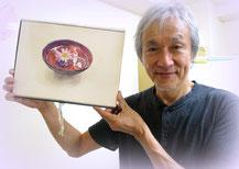 2015.6.22 若山先生と作品(水盤に花)