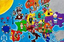 """""""Vision NEOS, Vereinigte Staaten von Europa"""", Europawahl 2019, Öl auf Leinwand, 100x150cm, 2019"""