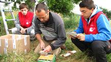 Ein einmaliges Erlebnis: Max und Jan mit Thomas Stadtmüller beim Beringen junger Steinkäuze