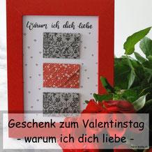 DIY Geschenkidee zum Valentinstag: Bild mit Gründen warum ich dich liebe