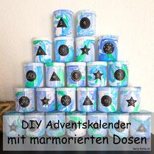 DIY Adventskalender selbermachen mit marmorierten Dosen - eine einfache Anleitung mit einem WOW Effekt