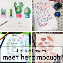Letter Lovers - herzimbauch zu Gast mit einer Anleitung für Watercolor Kakteen
