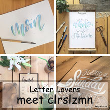 clrslzmn zu Gast im Lettering Interview bei den Letter Lovers mit einer Anleitung für Faux Calligraphy mit aquarellierbaren Buntstiften