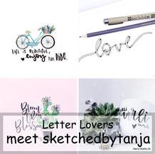 sketchedbytanja zu Gast im Lettering Interview der Letter Lovers mit einer Anleitung für ein Ribbon Lettering