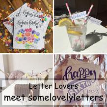 somelovelyletters zu Gast bei den Letter Lovers mit einer Anleitung für  eine DIY Wimpelkette und Strohhalmdeko mit Lettering