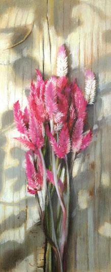 「春の花畑から」 パステル アクリル 910×303㎜