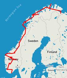 Unsere Route in Norwegen