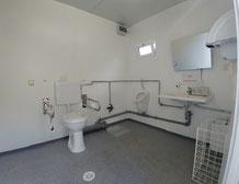 Foto zeigt Behinderten-WC Container Reitbahn von Innen