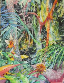 """""""Der Nachtschattenwald"""", Aquarell und Stifte, 61 x 46cm, 2013"""