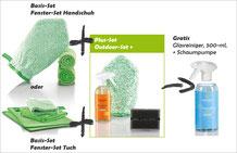 Fenster-Set Handschuh Art.Nr. 7220 oder Fenster-Set Tuch Art.Nr. 7215 zusammen mit Outdoor-Set+ Art.Nr. 7252  -->  Gratis CleanStick 35 cm, grüne Faser