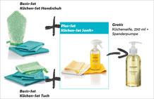 Küchen-Set Handschuh Art.Nr. 7325 oder Küchen-Set Tuch Art.Nr. 7315 zusammen mit Küchen-Set Sanft+ Art.Nr. 7385  -->  Gratis Kraftreiniger, 500 ml und Schaumpumpe, weiss
