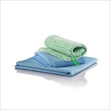 Bad-Set Tuch Art.Nr 7430 • DuoTuch 18x24 cm, grüne Faser • Profituch 40x45 cm blau • Trockentuch mittel 45x60 cm, blau • inkl. Klickbox