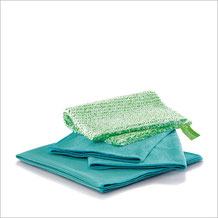 Küchen-Set Tuch Art.Nr. 7315 • DuoTuch 18x24 cm, grüne Faser • Profituch 40x45 cm, türkis • Trockentuch mittel 45x60 cm, türkis • inkl. Klickbox