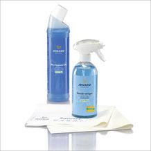 Bad-Set Täglich+ Art.Nr. 7440 • Sanitärreiniger 500ml, inkl. Schaumpumpe, weiss • WC-Hygiene-Gel 750 ml • Abledertuch SuperDry weiss/blau 40x45 cm • inkl. Klickbox