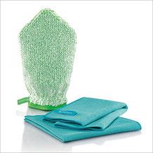 Küchen-Set Handschuh Art.Nr. 7325 • Reinigungshandschuh, grüne Faser • Profituch 40x45 cm, türkis • Trockentuch mittel 45x60 cm, türkis • inkl. Klickbox