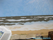 Wand Bild Gemälde Kunst kreativ Meer Strand Beton Armierungskleber